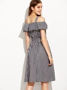 Black Checkerboard Fold Over Cold Shoulder Dress