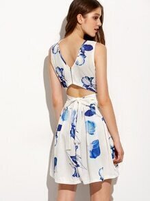 Blue Flower Print Self Tie Cutout Pleated Dress