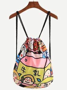 Multicolor Cartoon Print Backpack