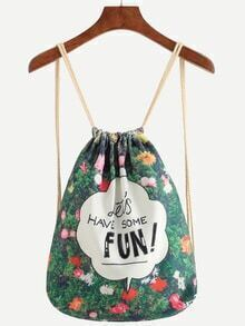 Green Florals Letters Embroidered Backpack