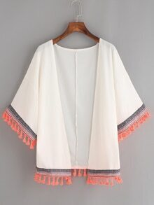 White Woven Tape and Tassel Trimmed Chiffon Kimono