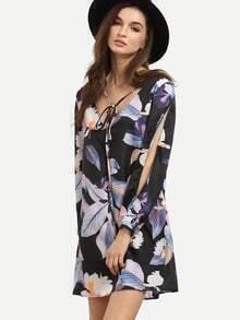 Black Flower Print Tie Neck Slit Sleeve Dress