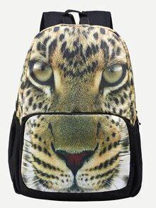Brown Leopard Head Print Backpack
