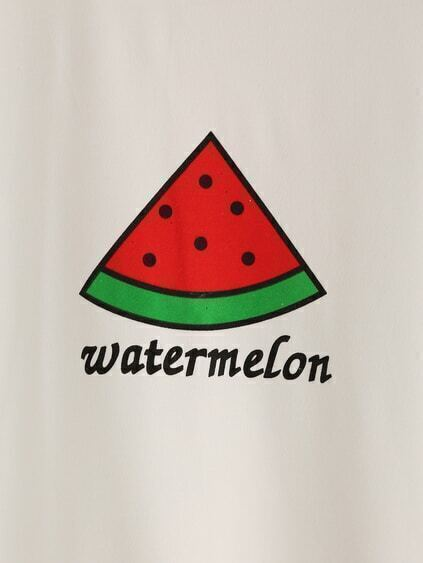 White Watermelon Print T-shirt