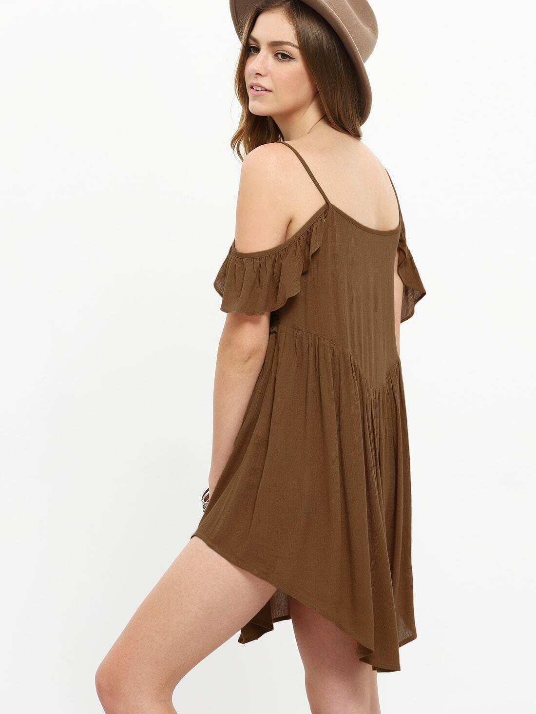 Vestido suelto con cold shoulder de volante -cafu00e9-Spanish Romwe