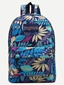 Blue Leaf Print Canvas Backpack