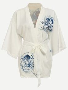 Dropped Shoulder Seam Dragon Print Kimono