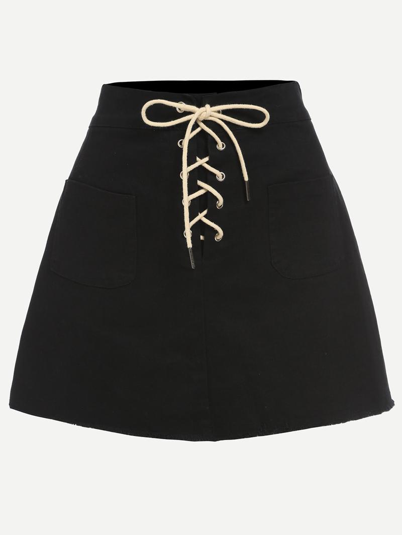281f8c0832b85 Black Lace-Up Fly Dual Pocket Raw Hem Skirt