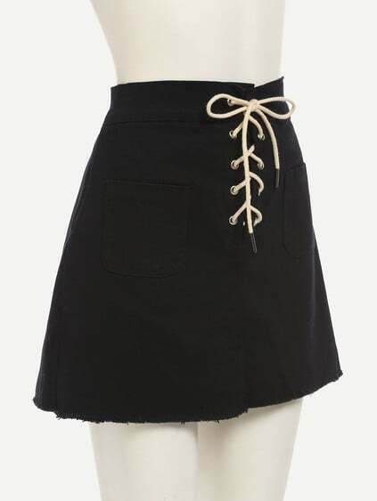 Black Lace-Up Fly Dual Pocket Raw Hem Skirt