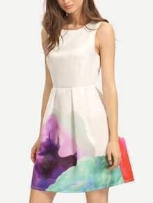 Multicolor Print Sleeveless Pleated Dress