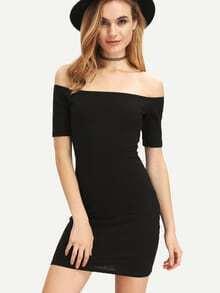 Vestido tubo hombro abierto cordones -negro