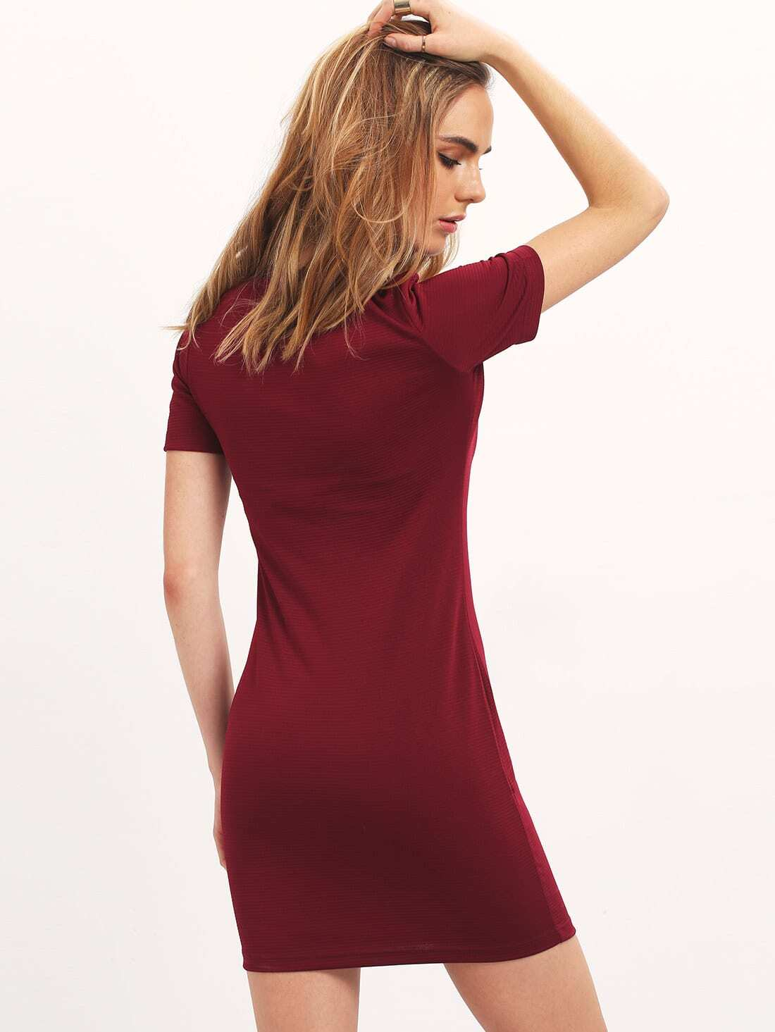 Robe moulante col rond rouge bordeaux french romwe for Interieur paupiere inferieure rouge