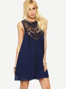 Navy Sleeveless Chiffon Shift Dress