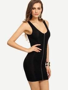 Black Sleeveless Zipper Bodycon Dress