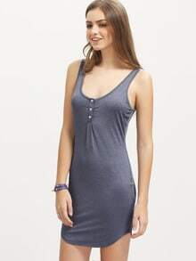 Vestido sin manga escote U -gris