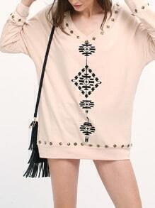 Pink Tribal Embroidered Loose Sweatshirt