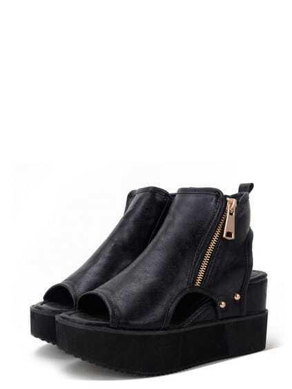 Black Peep Toe Zipper Cutout Thick-soled Sandals