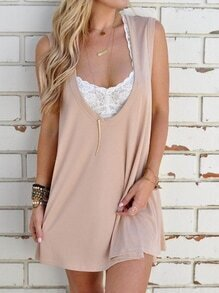 Apricot Deep Scoop Neck Swing Tank Dress