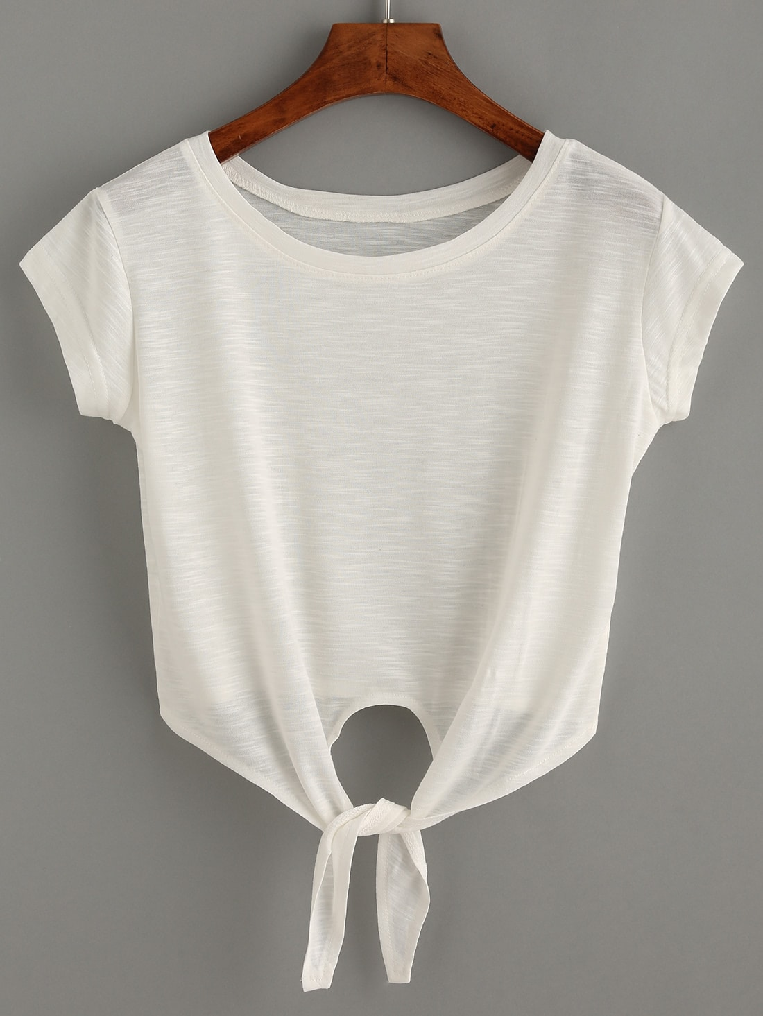 White Knotted Crop T-ShirtFor Women-romwe