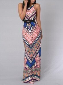 Multicolor Tribal Print Cutout Slit Maxi Dress