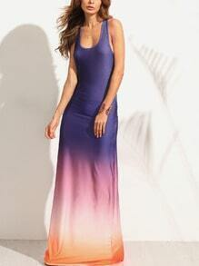 Multicolor Blue Ombre Ruched Racerback Maxi Tank Dress