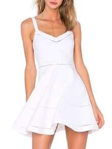 White Eyelet Wide Strap Skater Dress