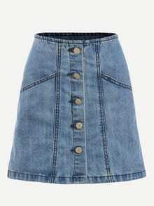 Blue A Line Denim Skirt With Buttons