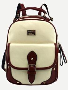 Beige Contrast Trim Buckled Strap Backpack