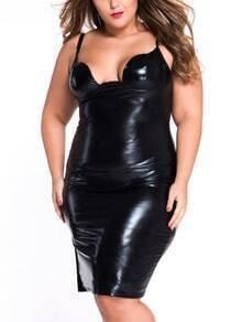 Black Faux Patent Leather Cami Dress