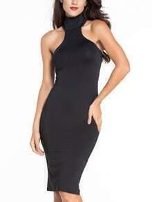 Black High Neck Cutout Bodycon Dress