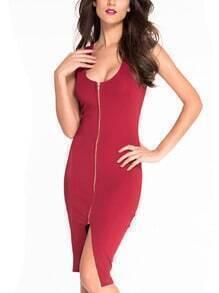 Red Scoop Neck Zip Front Tank Dress