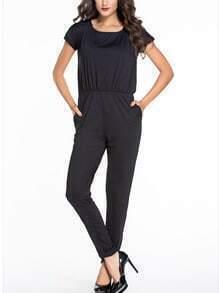 Black Slit Tie Back Elastic Waist Jumpsuit