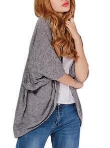 Grey Draped Slub Kimono