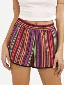 Multicolor Print Casual Shorts