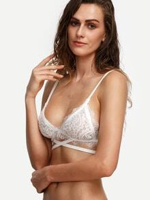 White Crisscross Lace Triangle Bralet