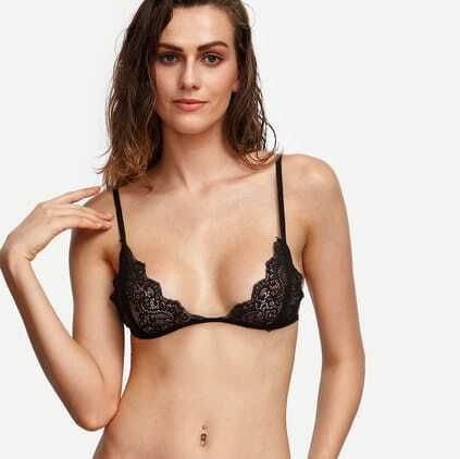 Black Scalloped Lace Triangle Bralet