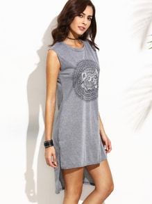 Grey Tribal Print High Low Tank Dress