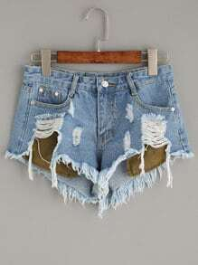 Blue Ripped Denim Shorts With Stick Out Pockets