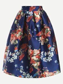 Blue Fruit Print Box Pleated Volume Skirt