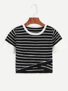 Black Striped Contrast Trim Knitted Wrap Top