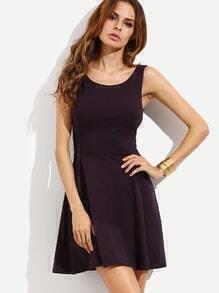 Plain Black V Back Sleeveless Flare Dress