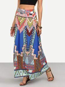 Colorful Geometric Print Long Skirt