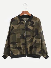 Army Green Camouflage Print Chiffon Jacket