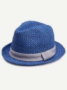 Blue Adjustable Vacation Straw Hat