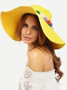 Yellow Vacation Pom-pom Large Brimmed Straw Hat