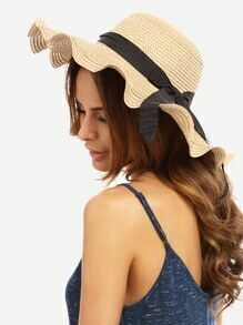 Beige Vacation Bow Large Wavy Brim Straw Hat