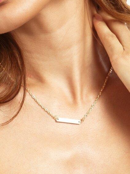 Golden Minimalist Geometric Chain Necklace