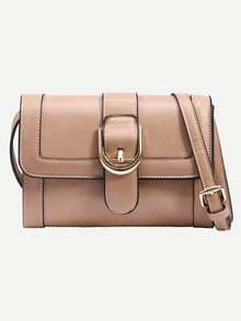 Apricot Buckled Strap Front Shoulder Bag