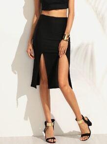 Black Double Slit Pencil Skirt