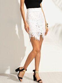 White Asymmetric Crochet Overlay Bodycon Skirt